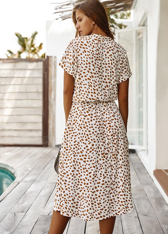 Dots Print White Short Sleeve Midi Boho Beach Dress 5
