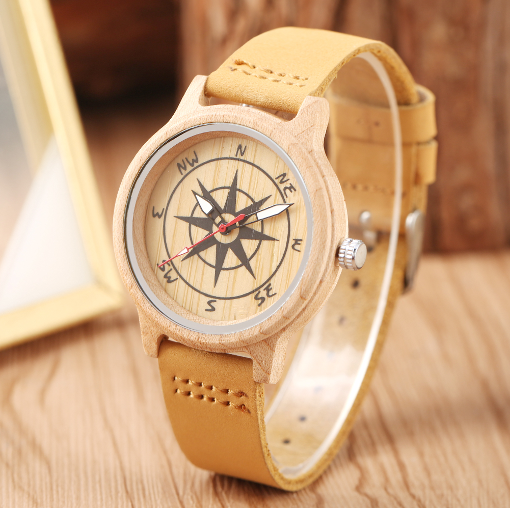 Comfortable Leather Band Wooden Watches For Women Unique Compass Design Pattern Dial For Men Luminous Pointers Relojes De Mujer