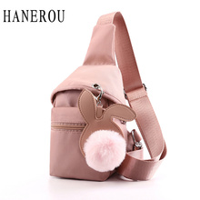 Nylon Waterproof Pink Bags Women Crossbody Chest Bag Girl With Headphone Hole Gilrs Rabbit Cute Ladies Casual Waist