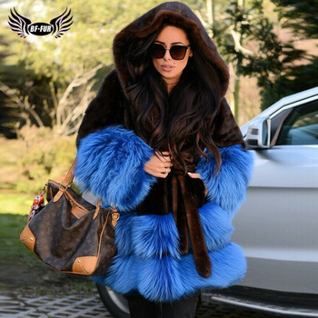 2019 Fashion Women Real Mink Fur Jacket With Hood Blue Fox Fur Bottom Cuff Thick Warm Genuine Mink Fur Coat With Fur Belt Luxury kids real mink fur coat baby winter warm colourful mink fur coat child mink fur clothes kids warm jacket