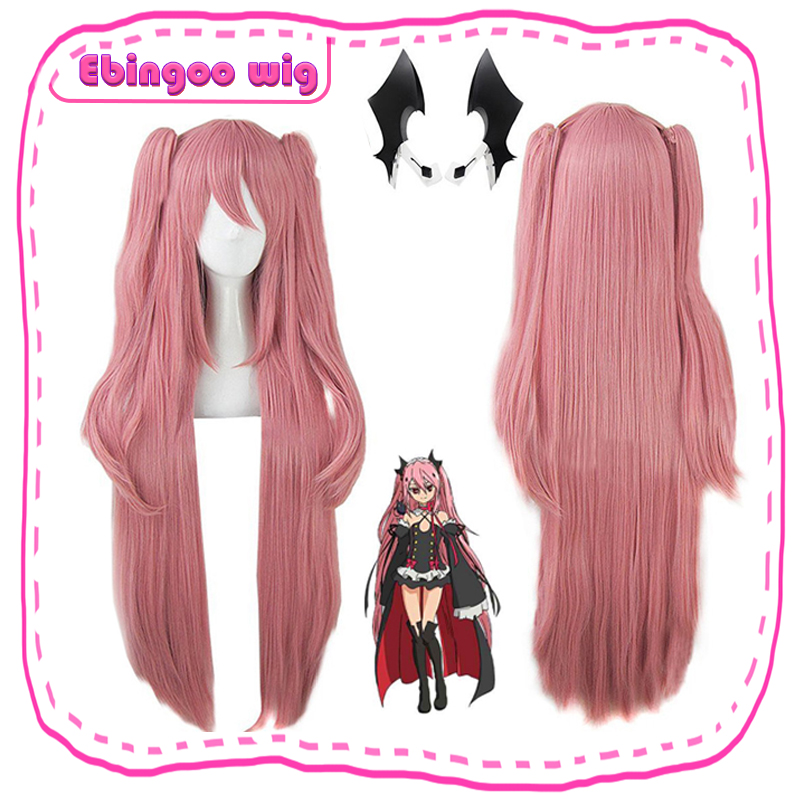 Ebingoo Krul Tepes Wig Pink Synthetic Cosplay Wig Double Ponytail Natural Long Straight Wig For Women Costume Party