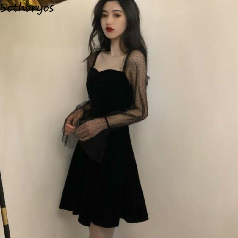 Long Sleeve Dress Women Mesh Temperament Above Knee Mature Womens Lace Empire Flare Square Collar Korean Style Patchwork Modern