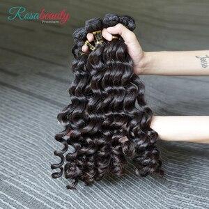 Image 3 - Rosabeauty extensiones de cabello 10A, 3 en oferta de extensiones de cabello Natural, pelo virgen indio suelto, paquete de ondas profundas, 100%, extensión de cabello humano de 10  28 pulgadas