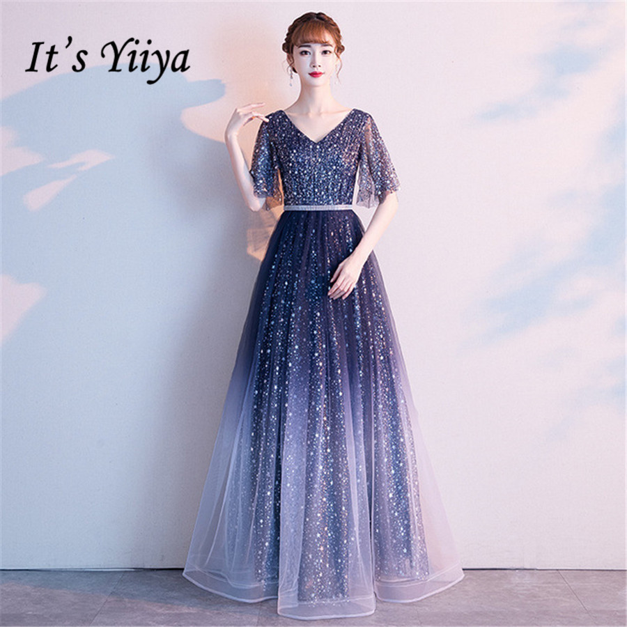 It's Yiiya Evening Dresses V-neck Gradient Shing Crystal Dress Women Party Night Elegant Plus Size Long Robe De Soiree E1313