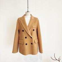 Shuchan Woman Short Woolen Coat Double Breasted  Solid  Abrigos Mujer Invierno 2019 Korean Fashion Coat Blazer Long Sleeve цены онлайн