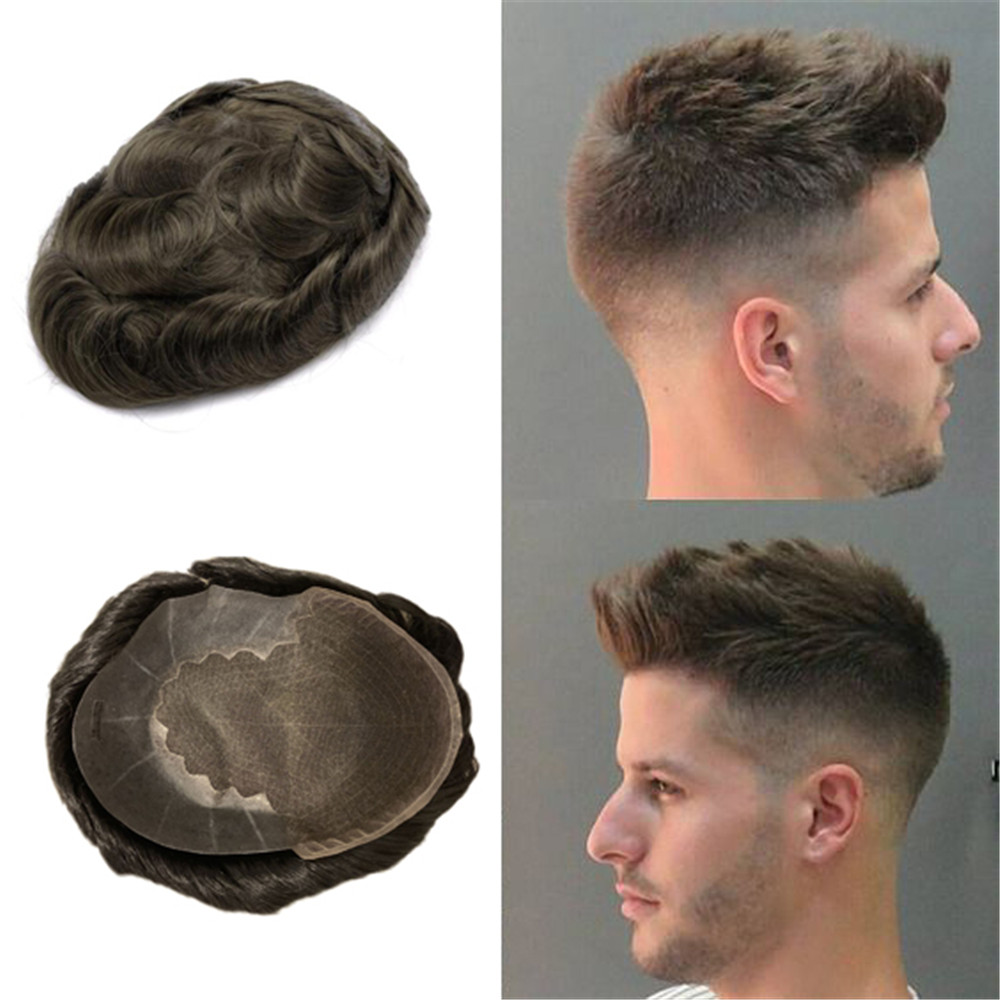 BYMC Lace Thin PU Replacement System Human Hair Durable Hairpieces For Men Toupees Human Hair Durable Hairpieces Lace & PU