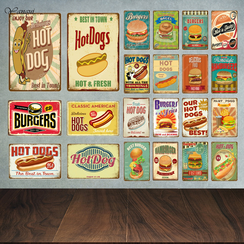 Vintage Metal Tin Signs Hot Dogs Retro Fast Food Art Wall Decor Poster