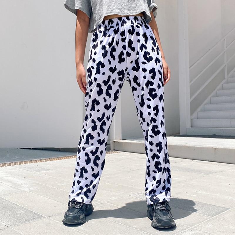 Streetwear Elastic High Waist Milk Cow Print Pants Women 2020 Casual Straight Loose Long Trousers harajuku Pantalon Femme capris