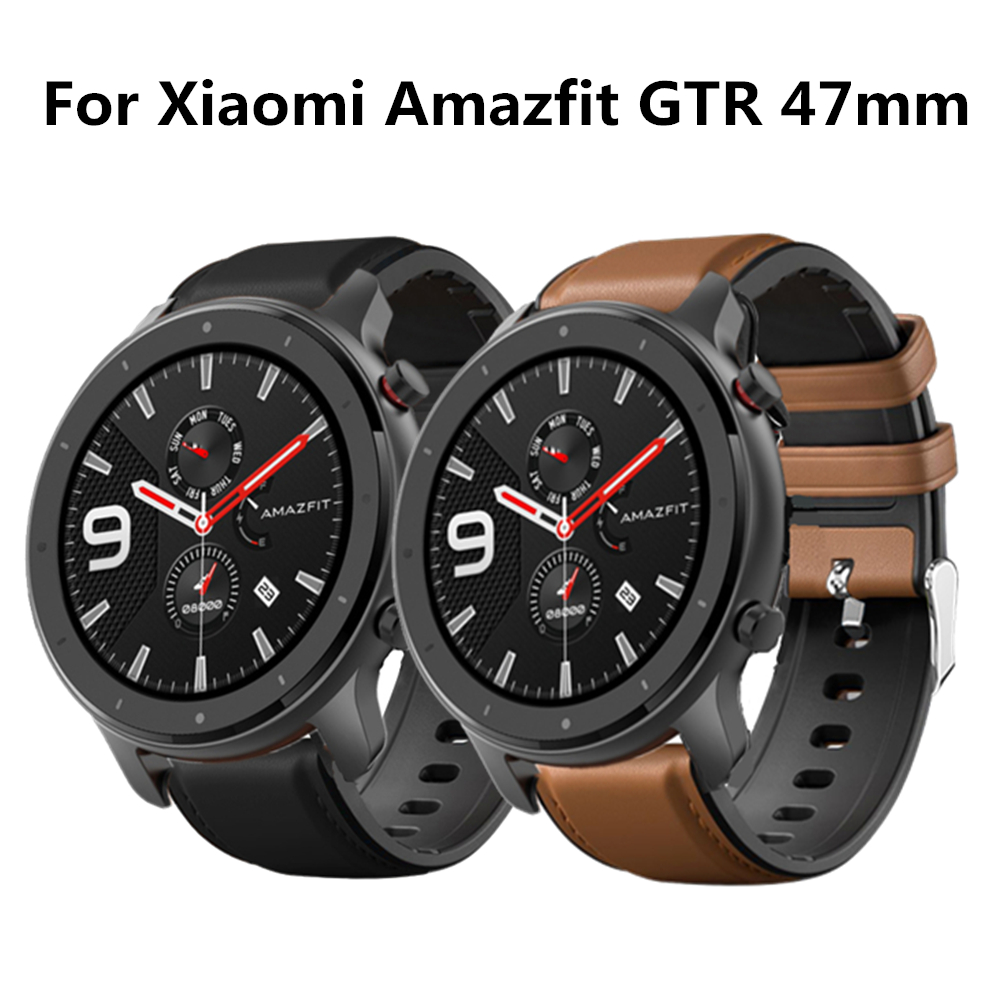 22mm Bracelet For Amazfit GTR 47mm 47 Strap For Xiaomi Huami Amazfit Pace Stratos 2 Smart Watch Band Leather+Silicone Watchband