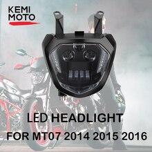 MT07 FZ07 LED Headlight Lamp DRL 2014 2015 2016 2017 Motorcycle Headlight mt07 Headlights For YAMAHA MT 07 MT 07 Light 110W 12V