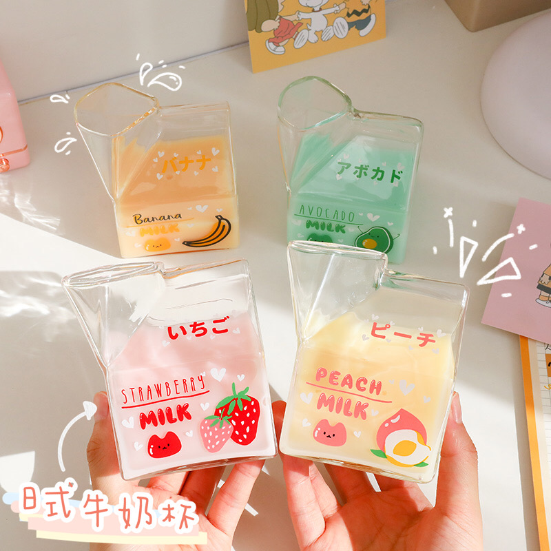 380ml Kawaii Square Milk Carton Glass Cup Cute Strawberry Creative Breakfast Cup For Home Portable Student Transparent Milk Cups