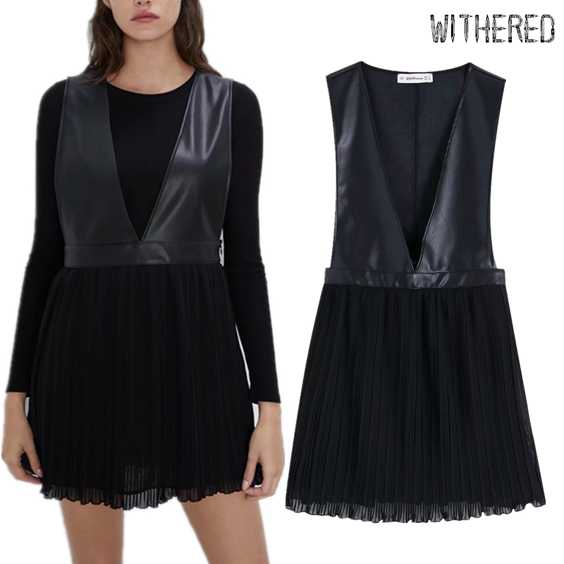 Withered Tank Dress Women Vestidos England Simple PU Patchwork Pleated V-neck Vestidos De Fiesta De Noche Sexy Mini Dress Blazer