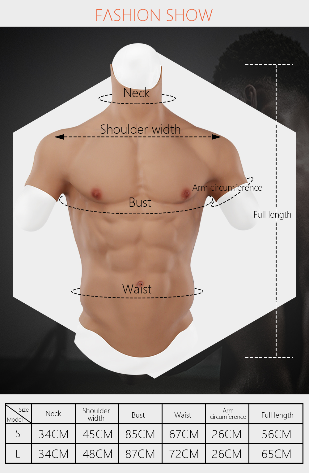 Eyung Silicone Male Muscle Suit Realistic false muscle Artificial fake Belly Man Skin Up Body Chest for Cosplayers Crossdresser  (2)