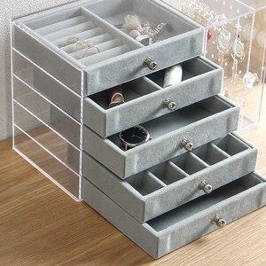 Акриловый прозрачный органайзер для макияжа, ящики для хранения, органайзер для косметики, органайзер для кистей, домашние ящики для хранен...