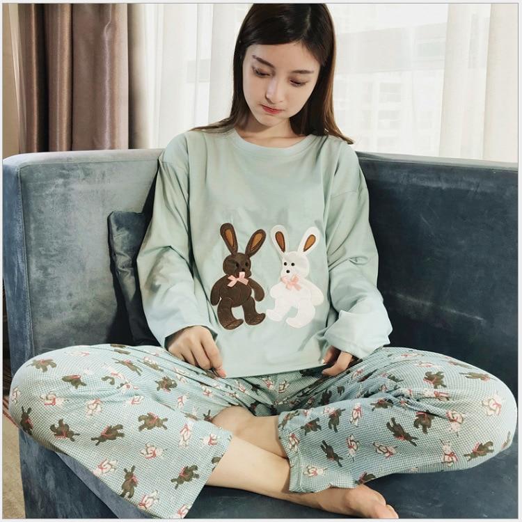 Spring Autumn Winter Girl'S Pajamas Casual Cute Women's Green Double Rabbit Long Sleeve Pajamas
