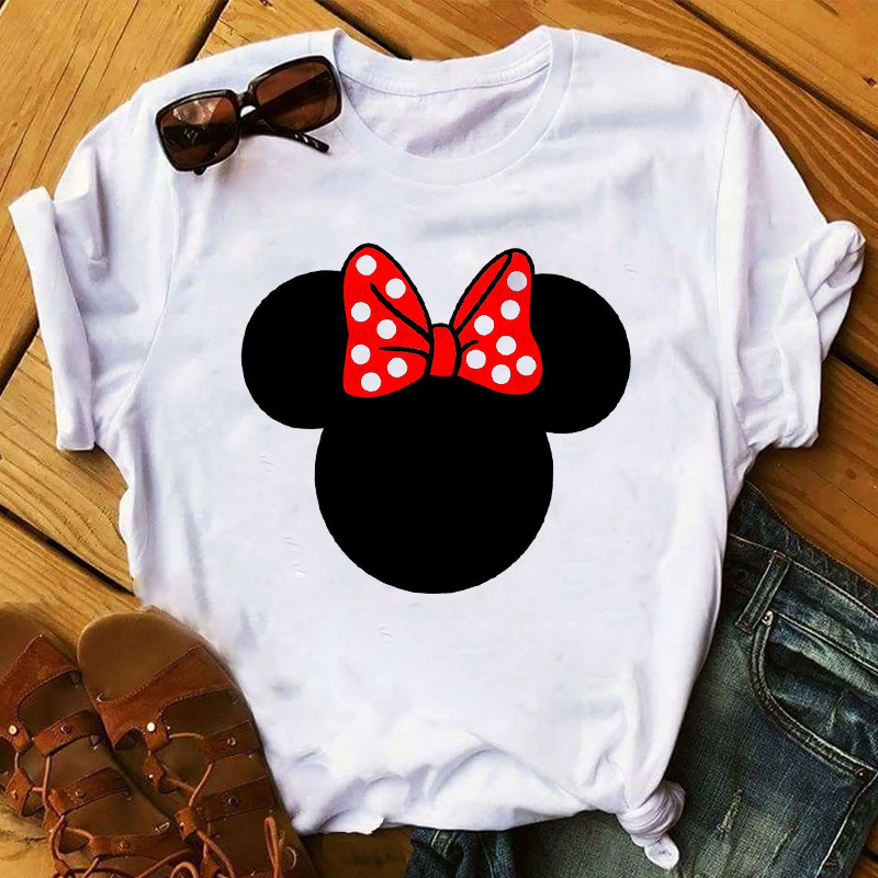 Women 2020 Fashion Polka Dot Bow Print Ear Short Sleeve Womens Top T Shirt Clothes Ladies Graphic Tshirts Female Tee T-Shirt