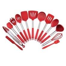 14pcs Silicone  kitchen utensil set Turner Soup Spoon Spatula baking tool Kitchen Non-Stick Cooking Tools storage bucket 5