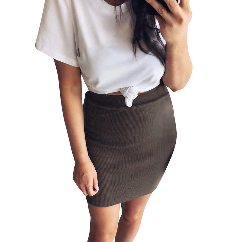 Cotton Knit Skirt Womens Sexy Bodycon Skirt in Knee Length Office Lady Work Skirts With Elastic Waist Straight Ribbed Skirts