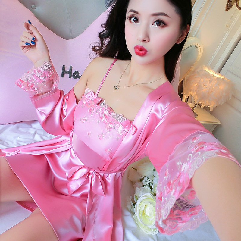 New Style Women's Model Silk Nightgown Spring Summer Women's Ninth Sleeve-Lace-up Nightgown Two-Piece Set