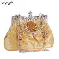 Silk Elegant Evening Party Handbag Luxury Elegant Embroidered Clutches Hobos Floral Handle Hand Bag Blue Wedding Shoulder Purse