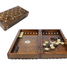 Midi Size Handmade Backgammon Set Wooden Backgammon Board Game Wooden Chessboard Checkers Mother of Pearl Chessboard