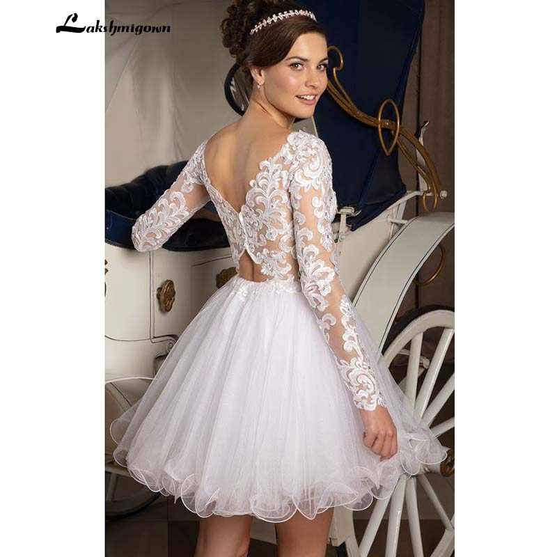 Sexy Tulle Wedding Dress Short Cheap Wedding Reception Dresses V Neck With Long Sleeves Lace Wedding Bridal Gowns Wedding Dresses Aliexpress