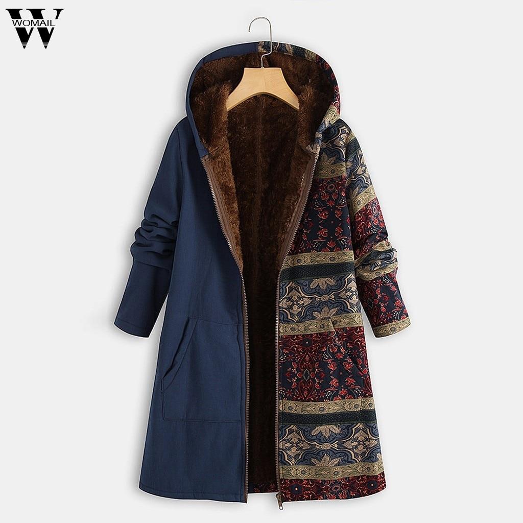 Женское длинное пальто размера плюс, теплые зимние толстые парки с капюшоном и карманами, верхняя одежда с принтом в стиле ретро, длинное пальто с длинным рукавом, Oct|Парки|   | АлиЭкспресс