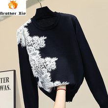 Sweater Women Lace Sweater New Women's Sweaters 2020 Spring Autumn Womens Sweater Jumper Pull Femme Nancylim(China)