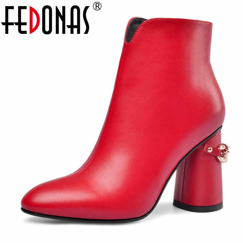FEDONAS ฤดูหนาวแฟชั่นผู้หญิงรองเท้าหนังแท้เชลซีรองเท้างานแต่งงานรองเท้าผู้หญิงส้น Chunky Warm Boot