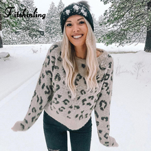 Fitshinling Fashion Leopard Winter Sweaters Holiday 2019 Slim Autumn Pullover Long Sleeve Jumper Knitwear Khaki Ladies Sweater