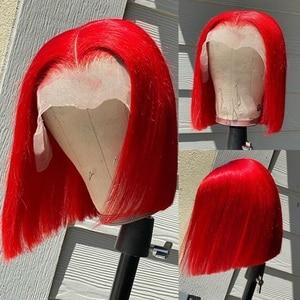 Image 3 - Couleur BOB dentelle perruques pré plumé bleu BOB avant dentelle partie moyenne rouge perruque brésilienne Remy cheveux 13x1 T partie dentelle perruque 180% BOB perruques