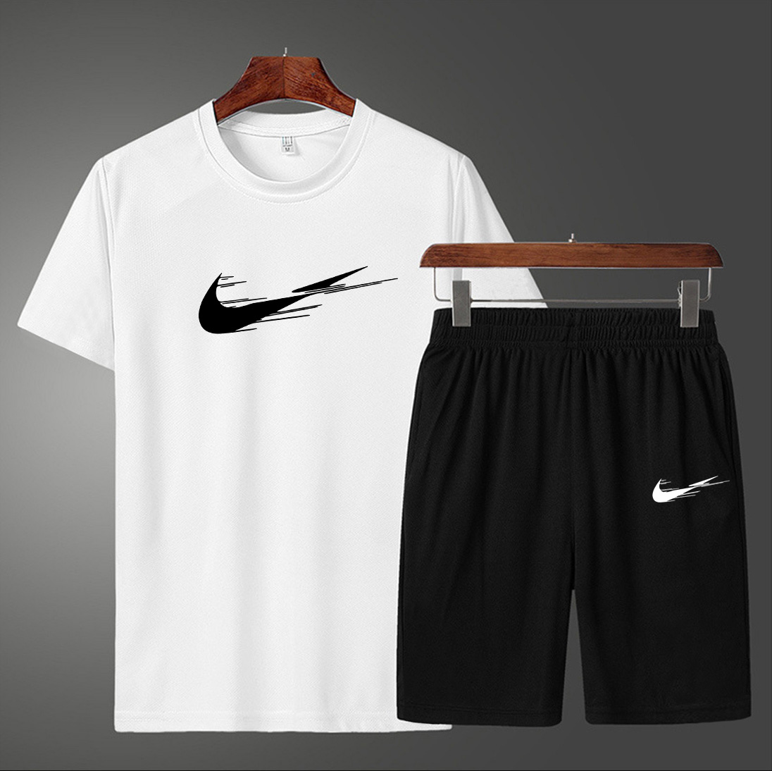New 2 Pcs/Set Men's Tracksuit Gym Fitness badminton Sports Suit Clothes Running Jogging Wear Exercise Wor fitness running short