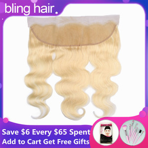 Image 1 - Bling Hair Brazilian Body Wave Lace Frontal Closure 13*4 Middle/Free/three Part with Baby Hair 100% Remy 1b/613 Blonde Color