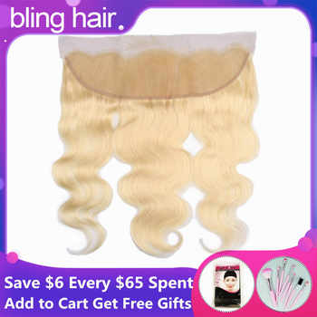 Bling Hair Brazilian Body Wave Lace Frontal Closure 13*4 Middle/Free/three Part with Baby Hair 100% Remy 1b/613 Blonde Color - Category 🛒 Hair Extensions & Wigs