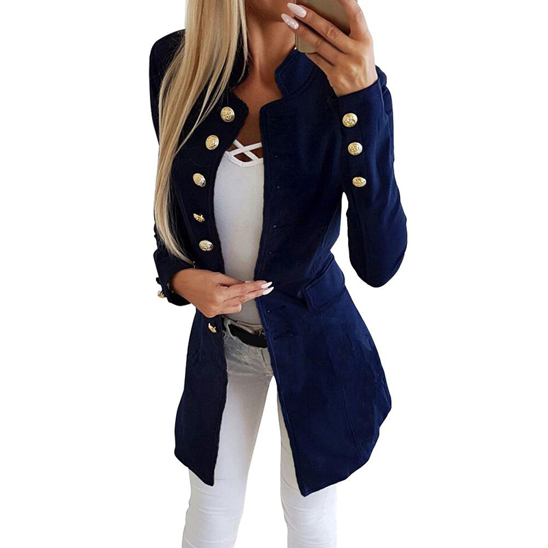 Women Coat Jacket Buttons Spring Long-Sleeves Autumn Female Casual New Slim Solid