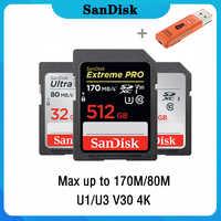 SanDisk Extreme Pro/Ultra Cartão SD GB 128 GB 64 32GB 256GB 512GB GB U3 16/U1 32 64 Cartão de Memória Flash de 128 GB Cartão de Memória SD SDHC SDXC