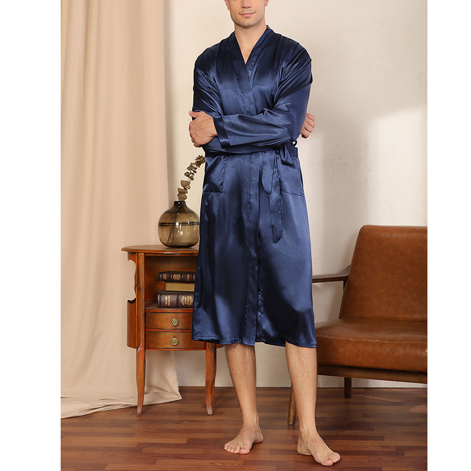 Men Fashion Solid Color Spring And Autumn Long Sleeve Bandage Home Pajamas Cardigan Nightgown Loose Large Size Glossy Bathrobe