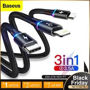 Baseus-Cable USB 3 en 1 para móvil, Cable Micro USB tipo C para Xiaomi mi 10, Huawei