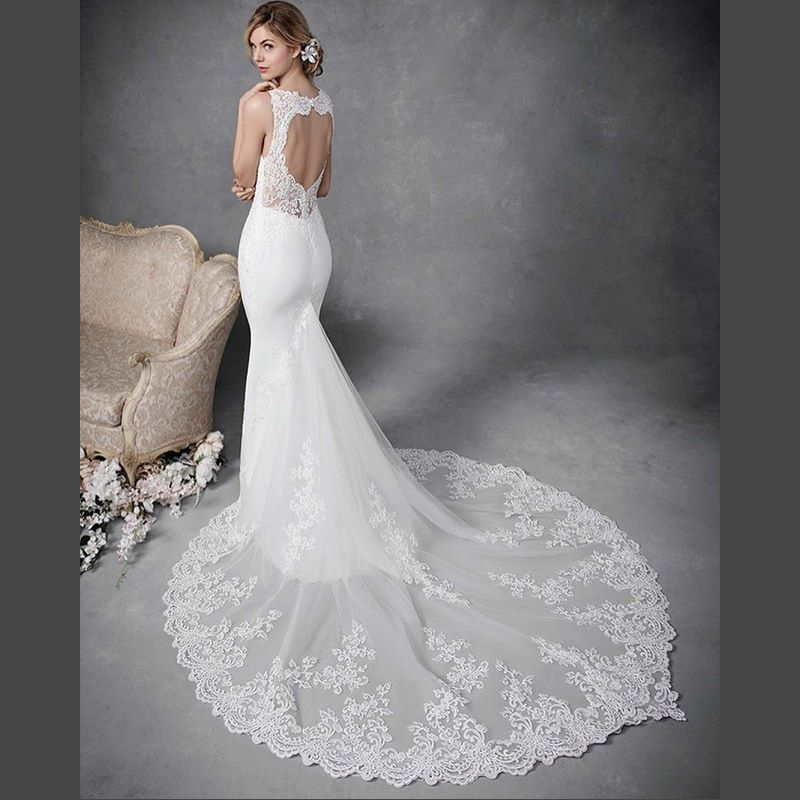 Sexy Backless Mermaid Wedding Dress Princess Spaghetti Strap Lace Applique Court Train Wedding Gowns Robe De Mariee Sirene