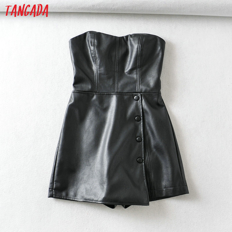 Tangada Fashion Women Black Faux Leather Strapless Playsuit Long Sleeve Zipper Vintage Female Sexy Pu Jumpsuit 6A342