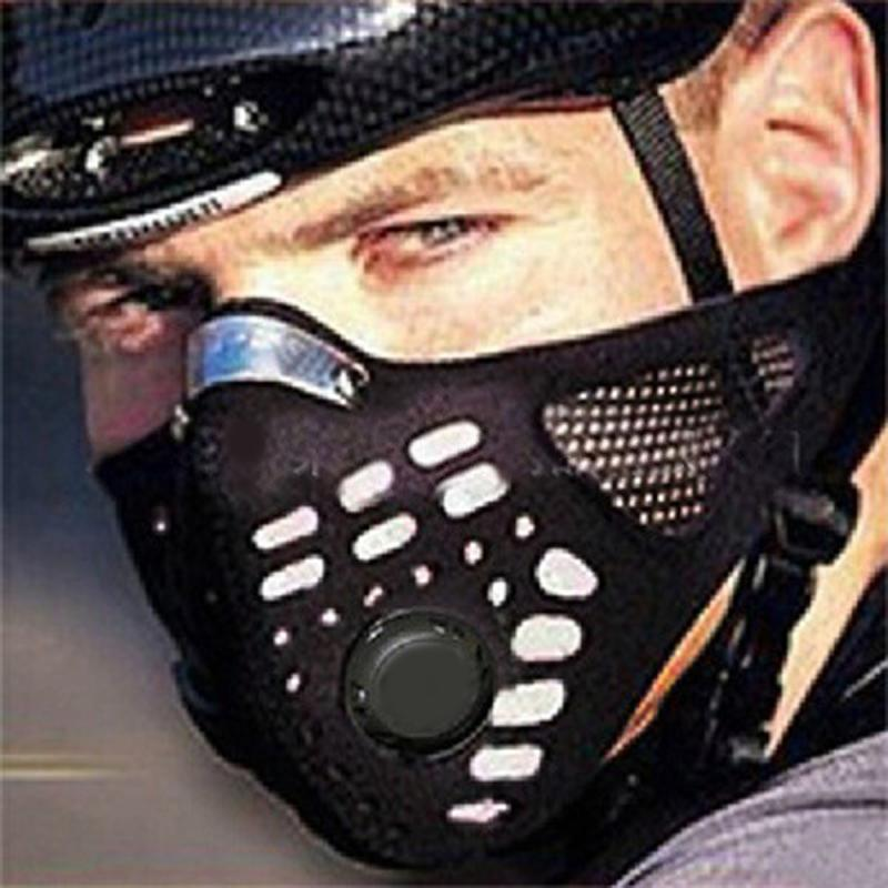 1pcs Cycling Outdoor Face Mask Exhaust Gas PM2.5 Activated Carbon Dustproof Windproof Anti-fog Mask With 2 Valve