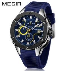 2019 nowy MEGIR męskie zegarki Top marka luksusowy wojskowy zegarek Quartz na co dzień silikonowy niebieski wodoodporny Sport chronograf mężczyźni