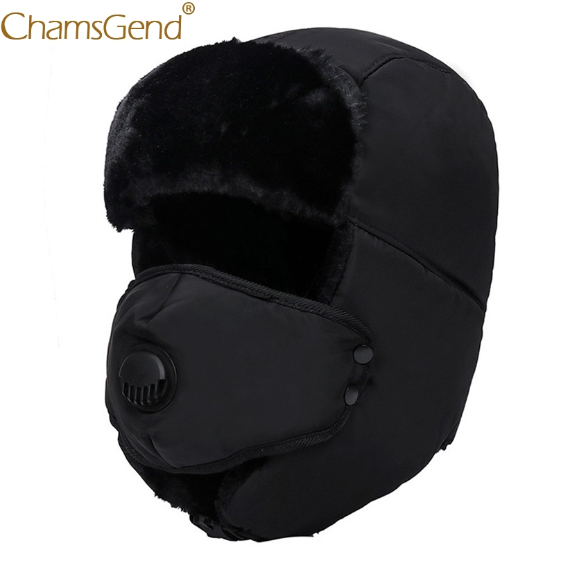 Bomber Hat Ski-Caps Winter Women Warm Cold Thick Unisex 910 1pc Headwear Detachable-Mask title=