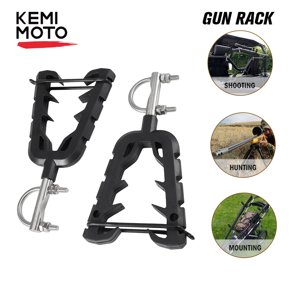 Quad Bike Single Gun Bow Rack Holder Motorbike ATV UTV Firearm Shooting V-Grip Single Handlebar Cushioned Gun Rack VFGH Golf Car