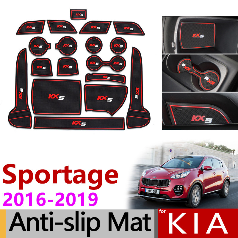 Anti-Slip Rubber Gate Slot Mat Cup Mats for KIA Sportage 2016 2017 2018 2019 QL 4th Gen MK4 KX5 Accessories Stickers Car Styling