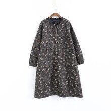 Johnature пальто с принтом, однобортная парка, женская одежда, новинка, зимнее повседневное свободное винтажное Женское пальто с длинным рукавом