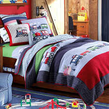 Kids Boys Cars printed Quilt Set 2Pcs 100%Cotton Quilted Bedspread Coverlet Bed Cover Childrean Bedding set Pillow shams - DISCOUNT ITEM  45% OFF Home & Garden