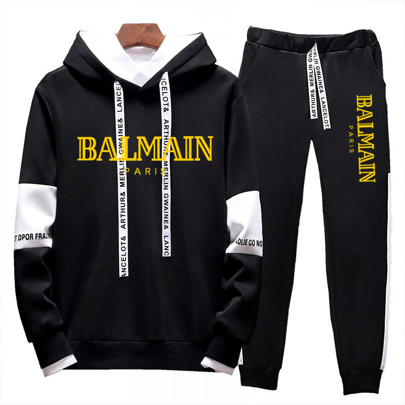 White Black Men Hoodies Set Fashion 2020 Spring Brand Casual Tracksuit Mens Set Sports Two Piece Patchwork Hoodie Pant Male Suit