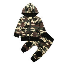 Neue Infant Baby Boy Camo Kleidung Mit Kapuze Tops Lange Hosen Outfit Set Trainingsanzug(China)