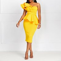 Yellow One Shoulder Mid Calf Party Dress Plus Size 2XL Solid Oblique Collar Ruffle Slim Bodycon Elegant Dress European Party